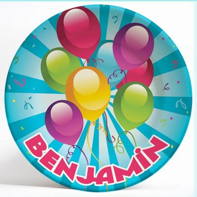 Bold Balloons birthday name plate. Personalized dinner plate for kids. PersonalizedKidsPlates.com