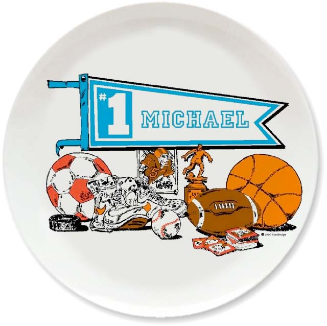Personalized vintage, Sports, Sports, Sports dinner plate by Randesign