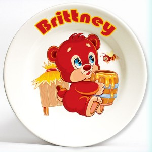 cute bear personalized plate