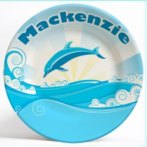 dolphin fantasy name plate. Personalized dinner plate for kids. PersonalizedKidsPlates.com