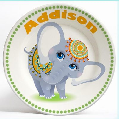 Cute Girly Elephant name plate. Personalized dinner plate for kids. PersonalizedKidsPlates.com