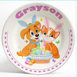 Dog and Cat Easter name plate. Personalized dinner plate for kids. PersonalizedKidsPlates.com