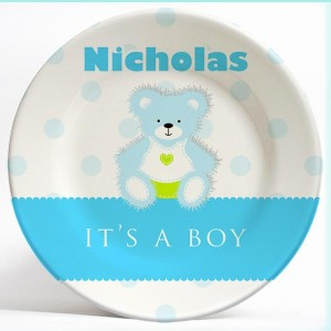 """""""It's a Boy"""" Blue Bear birthday name plate. Personalized dinner plate for kids. PersonalizedKidsPlates.com"""