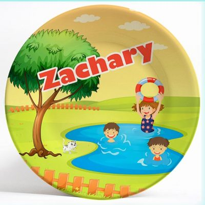 Boys and Girls Swimming name plate. Personalized dinner plate for kids. PersonalizedKidsPlates.com