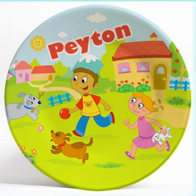 Boy, Girl and Dogs name plate. Personalized dinner plate for kids. PersonalizedKidsPlates.com