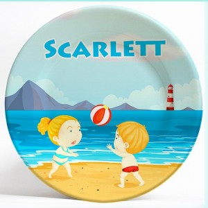 Boy, Girl Beach Volleyball name plate. Personalized dinner plate for kids. PersonalizedKidsPlates.com