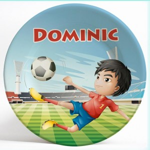 Boy Playing Soccer name plate. Personalized dinner plate for kids. PersonalizedKidsPlates.com