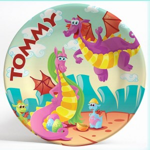 Friendly Dragons Fantasy name plate. Personalized dinner plate for kids. PersonalizedKidsPlates.com
