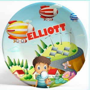 Boy with Blimps Fantasy name plate. Unique, personalized dinner plate gifts for kids. PersonalizedKidsPlates.com