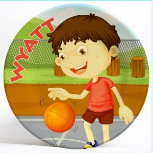 Boy Playing Basketball name plate. Personalized dinner plate for kids. PersonalizedKidsPlates.com