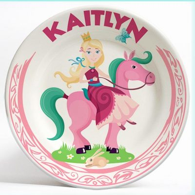 Girl Princess on Horse Fantasy name plate. Personalized dinner plate for kids. PersonalizedKidsPlates.com