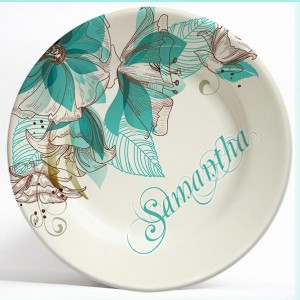 Teal Flowers name plate. Personalized dinner plate for kids. PersonalizedKidsPlates.com