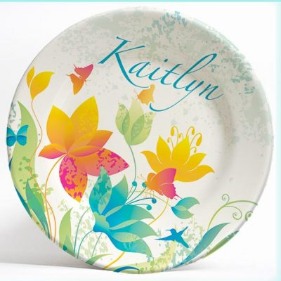 Colorful Flowers name plate. Personalized dinner plate for kids. PersonalizedKidsPlates.com