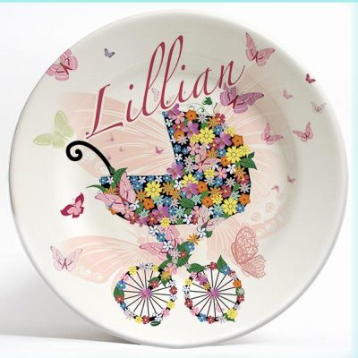 Flowers and Stroller name plate. Personalized dinner plate for kids. PersonalizedKidsPlates.com