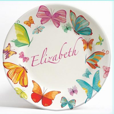 Floral Butterflies name plate. Personalized dinner plate for kids. PersonalizedKidsPlates.com