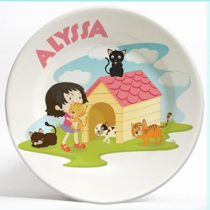 Girl with Cats name plate. Personalized dinner plate for kids. PersonalizedKidsPlates.com