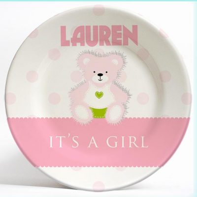 """It's a Girl!"" Birthday Plate with Bear name plate. Personalized dinner plate for kids. PersonalizedKidsPlates.com"