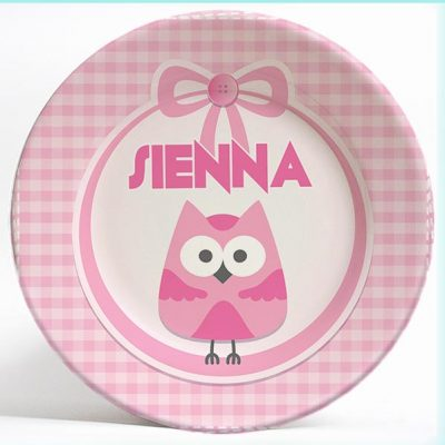 Cute Pink Owl name plate. Personalized dinner plate for kids. PersonalizedKidsPlates.com