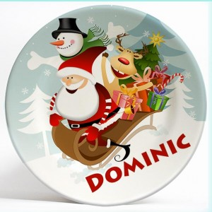 Santa and Friends Sledding Fun personalized name plate present. Personalized dinner plate for kids. PersonalizedKidsPlates.com