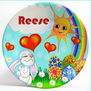 Easter Bunny name plate. Personalized dinner plate for kids. PersonalizedKidsPlates.com