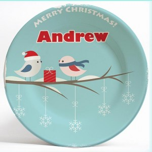 Christmas Birds personalized name plate gift. Personalized dinner plate for kids. PersonalizedKidsPlates.com