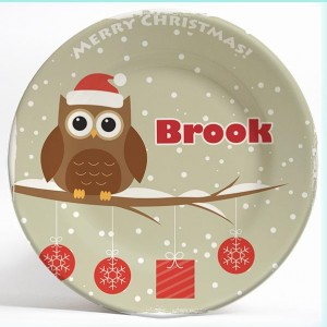 Christmas Owl name plate. Personalized dinner plate for kids. PersonalizedKidsPlates.com