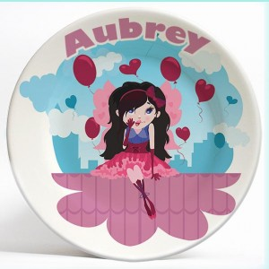Valentine Girl personalized name plate. Personalized dinner plate for kids. PersonalizedKidsPlates.com