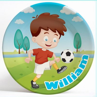 Soccer Boy name plate. Personalized dinner plate for kids. PersonalizedKidsPlates.com