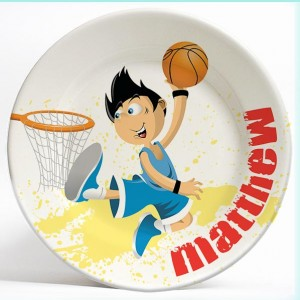 Basketball Boy name plate. Personalized dinner plate for kids. PersonalizedKidsPlates.com