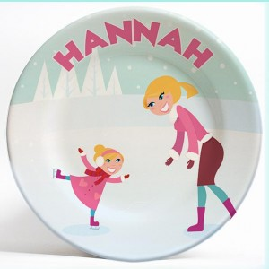Ice Skating Girl and Mom name plate. Unique, personalized dinner plate for kids. PersonalizedKidsPlates.com