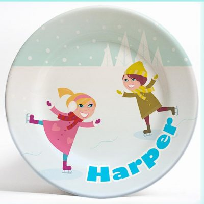 Two Girls Ice Skating name plate. Unique, personalized dinner plate for kids. PersonalizedKidsPlates.com