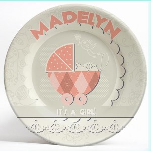 """Vintage """"Its a Girl!"""" Birthday name plate. Unique, personalized dinner plate for kids. PersonalizedKidsPlates.com"""