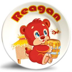 Cute bear personalized dinner plate for kids.