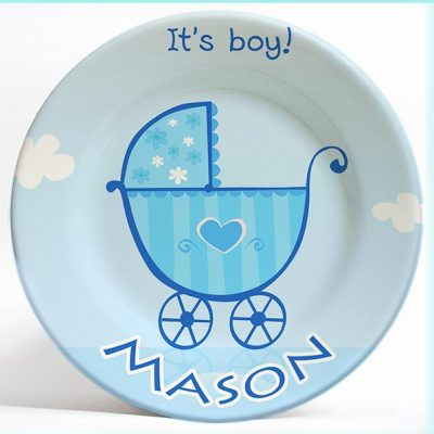 """It's a Boy"" birthday name plate. Personalized dinner plate for kids. PersonalizedKidsPlates.com"