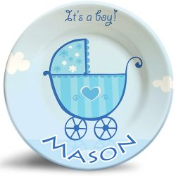 """It's a boy"" birthday/baby shower personalized plate"