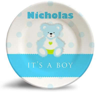 "Birthday-""It's a boy"" birthday/baby shower personalized melamine dinner plate"