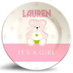 """It's a Girl!"" Birthday Plate with Bear name plate. Personalized dinner plate for kids."