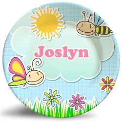 Friendly bees personalized dinner plate for kids.