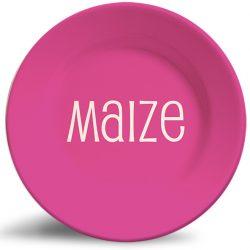 Personalized, Bold Berry-Colored melamine plate.