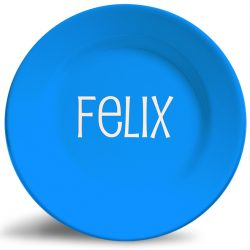 Bold solid blue personalized dinner name plate