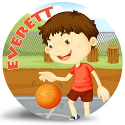 Boy Playing Basketball personalized name plate.