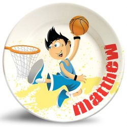 Basketball Boy personalized name plate. Personalized dinner plate for kids.