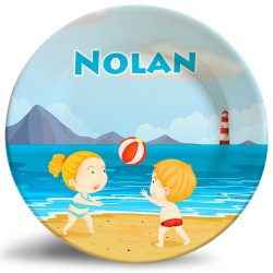 Boy, Girl Beach Volleyball personalized name plate.