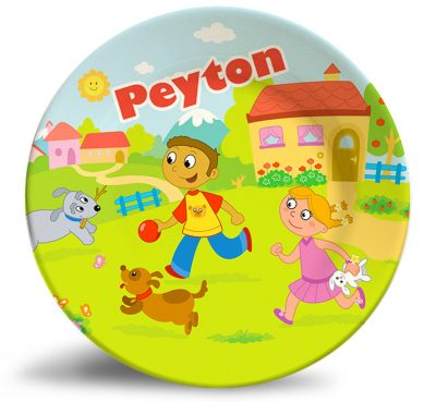 Boy, Girl and Dogs personalized name plate.