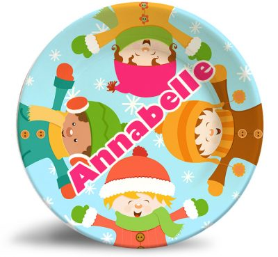 Boys and Girls Friends melamine personalized dinner plate.