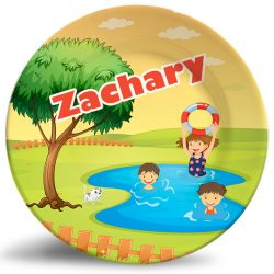 Boys and Girls Swimming in pond personalized name plate.