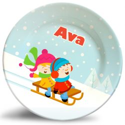 Boy and Girl Sledding personalized dinner plate.