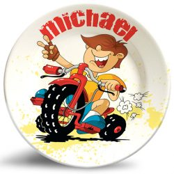 Boy on Motorcycle name plate. Personalized dinner plate for kids.