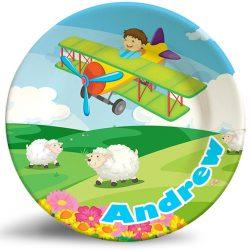 Boy Flying Plane Fantasy personalized dinner plate.