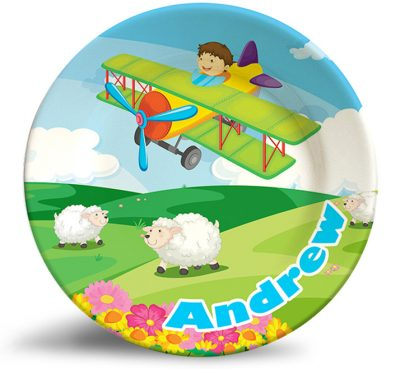 Boy Flying Plane Fantasy personalized dinner plate.